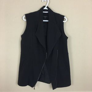 Black Asymmetrical Zippered Polyester-Rayon Vest